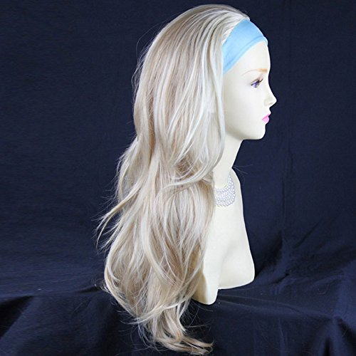 Blonde Mix 3/4 Fall Hair Piece Long Straight Layered wavy Half Wig hairpiece