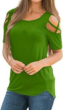 Camisas Mujer, Blusa Mujer Fiesta Blusas y Camisas Casual de Manga Corta Elegante Camisetas Mujer Camiseta Mujer Fiesta Sin Hombros Camisetas y Tops: Amazon.es: Deportes y aire libre