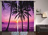 Cheap Lavender Curtains Ocean Decor by Ambesonne, Palm Trees and Silhouette at Sunset Dream Dusk Warm Twilight Photo, Window Treatments, Living Room Curtain 2 Panels Set, 108 X 84 Inches, Plum Purple Orchid
