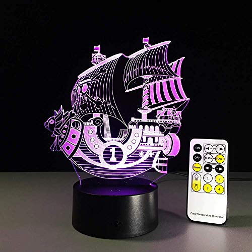 One Piece THOUSAND SUNNY 3D Led Night Light Color Changing Lamp One Piece Boat Action Figure Colorful USB LED Acrylic Lighting