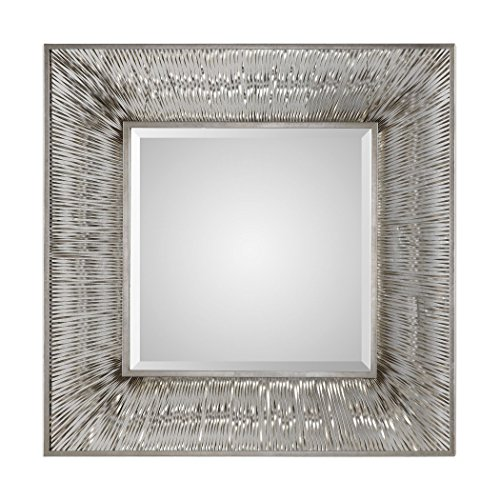 Luxe Retro Industrial Silver Metal Strips Wall Mirror
