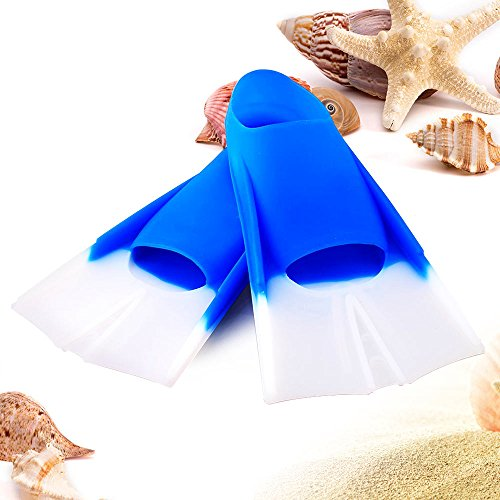 Kids Swim Fins   Size 1.5 - 3.5 / 4 - 6 Full Footed Training Flippers with Short Blade   Extra Durable Elastic