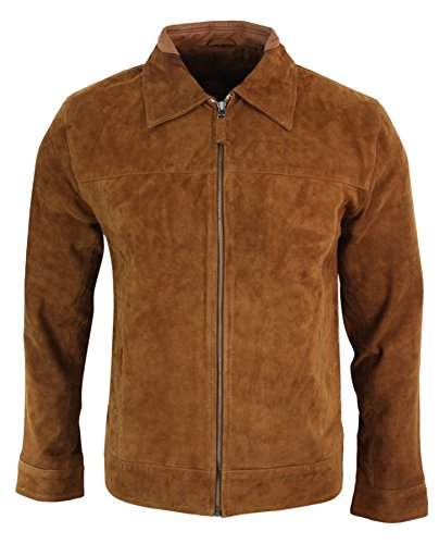 - Infinity Mens Real Suede Leather Classic Zip Jacket Camel Turn Down Collar Vintage Retro tan-Brown m