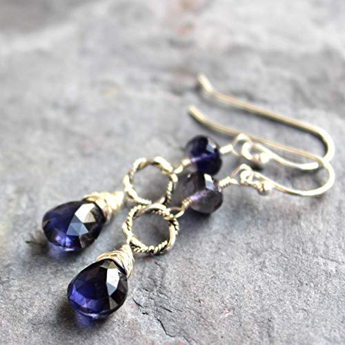 Blue Iolite Earrings Sterling Silver Dangle Gemstones with Rope Twist Circles, 1.8 Inch