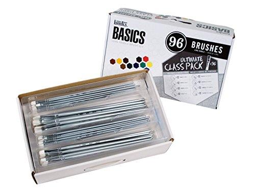 Liquitex Basic White Synthetic Long Hardwood Handle Value Brush Set, Assorted Size, Set of 96 from Liquitex