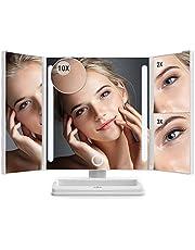 Specchio per Trucco Ricaricabile Anjou con Luce LED e Ingrandimento 1x / 2x / 3x / 10x, Specchio per Trucco USB Ricaricabile, Luce LED con Touchscreen per Makeup