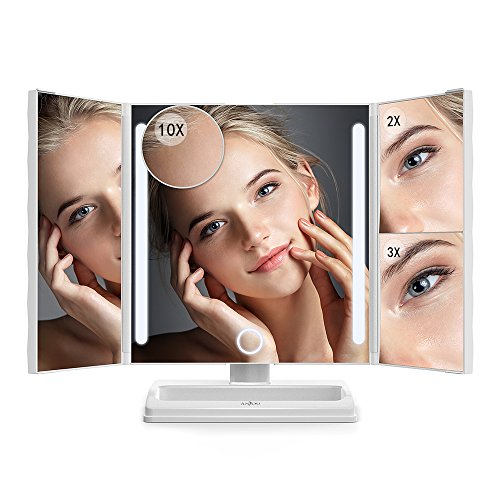 Anjou Makeup Mirror, Tri-fold Vanity Mirror with 2x/3x and Detachable 10x Magnification, 24 LED Strip Light for Brighter and Soft Light, Touch Screen Dimming, Protable USB Rechargeable Design -