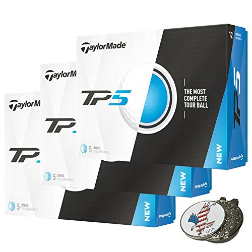 3 Dozen of TaylorMade TP5 White Golf Balls 2017 TP 5 + 1 Custom Ball Marker Hat Clip Set (American Eagle) by TaylorMade