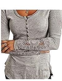 Tasatific Womens Henley Shirt Lace Stitching Sleeve T-Shirt Blouse Tops