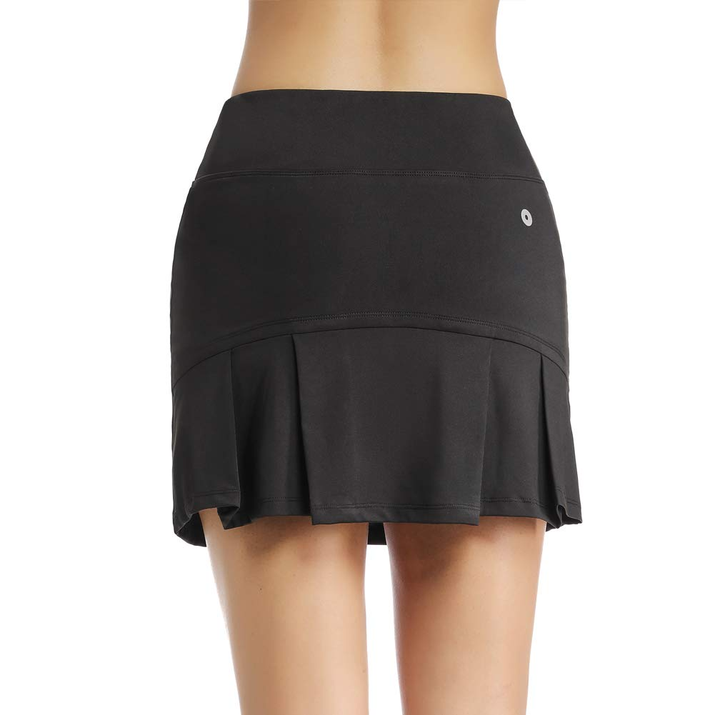 Ultrafun Women's Active Tennis Golf Skort Pleated Athletic Sports Running Skirt with Pockets and Shorts (Black, XXL-Waist:34.5-36.5'') by Ultrafun