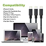 Lightning Cable, VPR 3Pack iPhone Charger Cord nylon braided for Apple iphone SE, iPhone 7, 7Plus, 6s, 6s+, 6+, 6,5s 5c 5,iPad Mini, Air, iPad 6, iPod (Black+Blue3FT 6FT 10FT)
