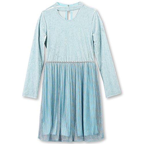 Speechless Girls' Big Long Sleeve Velvet Bodice Dress with Sparkle Skirt, Rturquoise, 12 -