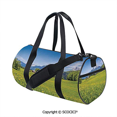 Nylon Ribbon Sports Backpack,Photo of Alps with Fresh Meadows and Blooming Flower Snowy Mountain Nature HomeEasy to Carry,(17.6 x 9 x 9 in) Green Blue ()