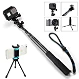 Selfie Stick Tripod - Waterproof Extendable Monopod with 360° Ball Head for GoPro Hero 6/5/4/3