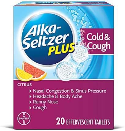 Alka-Seltzer Plus Cold & Cough Medicine, Citrus Effervescent Tablets with Pain Reliever/Fever Reducer, Citrus, 20 Count