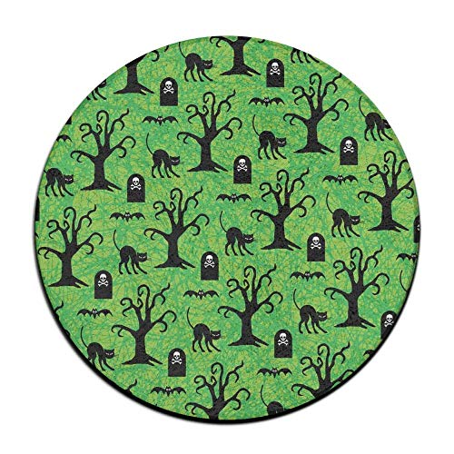 Hawaiian Waves Halloween Black Cats and Spooky Trees Non-Slip Doormats Soft Memory Foam Pads (23.6 Inch) Indoor/Outdoor/Front Absorbent Circular Carpet Round Area Rug -