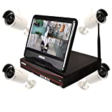 Home Security Camera System with 10″ inch LCD Screen Display Monitor 1MP Wifi Wireless Network/IP Security Camera System Video Surveillance CCTV NVR Kits with 4PCS Waterproof Bullet IP Camera (720P)