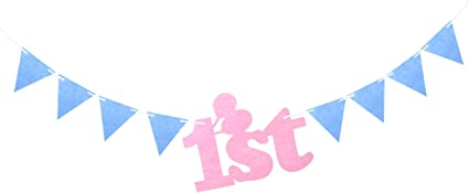 Baby 1st Birthday Fabric Tassel Banners Hanging Bunting Party Decorations