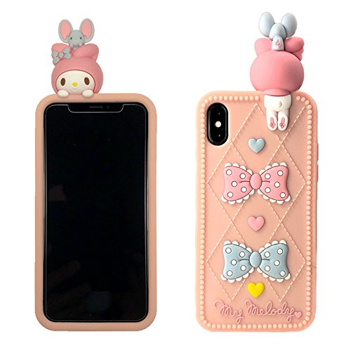【CaserBay】 iPhone Phone Case 3D Cute Cartoon Kawaii Animal Series Soft Silicone Rubber Case Cover【Rabbit & Bow-Knot, Compatible with 6.1