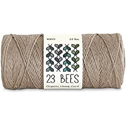 100% Organic Hemp Cord, Twine, String | Jewelry, Beading, Macrame, Crafts | 23 Bees (400ft x 22 lb.)