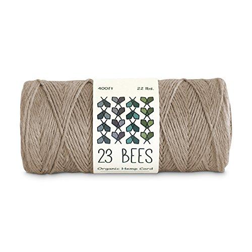 100% Organic Hemp String, Twine, Cord | Jewelry Making, Beading, Macrame, Crafts | 23 Bees (400ft x 22 lb.)