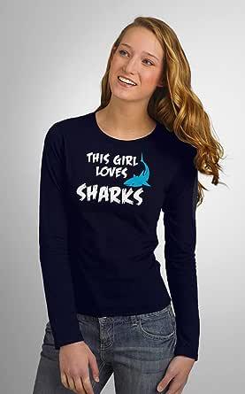 Art Gallery Misr Printed This Girl Loves Sharks T-Shirt Long Sleeve
