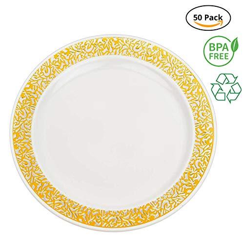 Party Joy âI Canât Believe Itâs Plasticâ 50-Piece Plastic Salad Plate Set | Lace Collection | Heavy Duty Premium Plastic Plates for Wedding, Parties, Camping & More (White w/ Gold Lace)