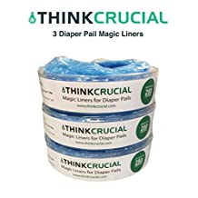 3 High Quality Diaper Garbage Bag Refills, Fit Playtex Diaper Genie - 280 Count, by Think Crucial