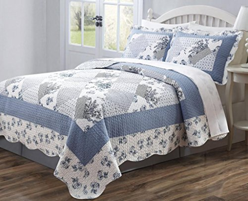 3 PCS Quilt Bedspread Coverlet Blue and White Floral Patchwork Design Microfiber Full Size (Flowered Comforters)