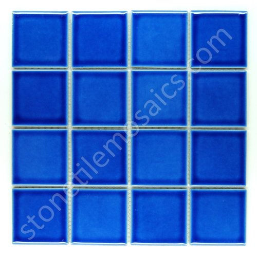 - Vogue Square Tile Ocean Blue Porcelain Mosaic Glossy Look on Mesh for Kitchen Backsplashes, Bathroom Wall and Floor Designed In Italy (Box of 5 sq. ft.)