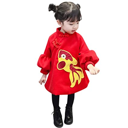 92f46777e Amazon.com  EnjoCho 6M-3Y Newborn Baby Girls Cartoon Coat Cheongsam ...