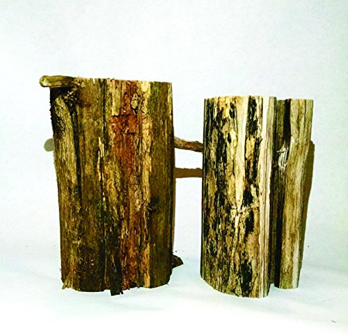 2 Stumps, 3 Inches Diameter, 5.25 Inches Diameter, Rustic Bark Left On; For Weddings, Crafts, Wood Art, Engraving, Candle Holders (Rustic Cedar Log Holder)