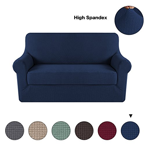 Turquoize 2-Pieces Spandex Stretch Slipcover for Loveseat Sofa Covers Anti-Slip Couch Slipcover Highly Fitness (Loveseat,Navy)