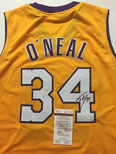 Autographed/Signed Shaquille Shaq O'Neal Los Angeles Lakers LA Yellow Basketball Jersey JSA COA - Signed Los Angeles Lakers Jersey