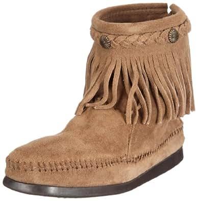 Minnetonka Boots Womens Hi Top Back Zip Square Toe 5 Taupe 297T