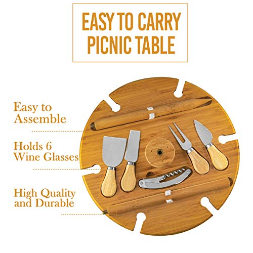 Bamboo Outdoor Wine Table with Cutlery – Picnic Tray Beach Wood Table for Camping and Entertaining Includes 4 Utensils, Cork Opener, Glass Holders for Cheese and Meat
