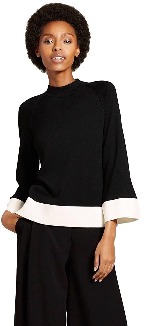 60s Shirts, T-shirt, Blouses, Hippie Shirts Victoria Beckham Womens Black and White High Neck Sweater Top $19.95 AT vintagedancer.com
