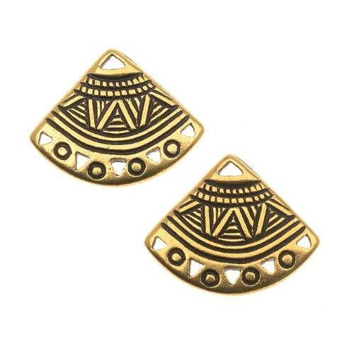 TierraCast 22K Gold Plated Pewter Ethnic Fan Chandelier Earrings 15mm (2) ()