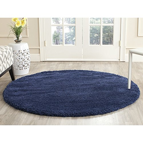 Safavieh Milan Shag Collection SG180-7070 Navy Round Area Rug (5'1