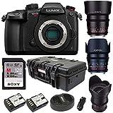 Panasonic Lumix GH5 4K Mirrorless Camera (Body) + Rokinon 3-Lens Cine Kit (35, 50, 85mm T1.5) 64GB UHSII Kit