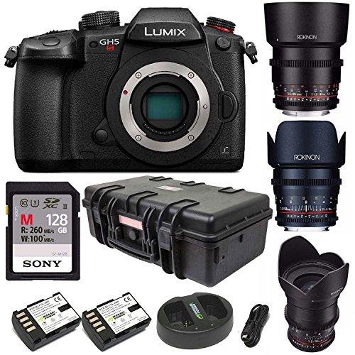 Panasonic Lumix GH5 4K Mirrorless Camera  + Rokinon 3-Lens C