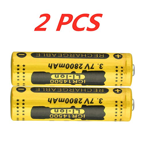 (2 PCS Rechargeable Battery 14500 Batteries 3.7V 2800mAh Button Top Battery for Flashlight Torch, Alarm Clocks, Remote Control, Handheld Flashlights, Radio, Electronic Toys, Household Appliance)