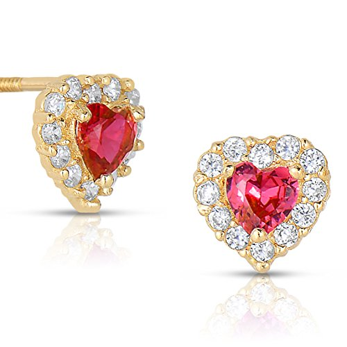 Tiny 14k Yellow Gold Heart Stud Earrings in Cubic Zirconia CZ Birth Month with Secure Screw Backs (Jul) by Art and Molly