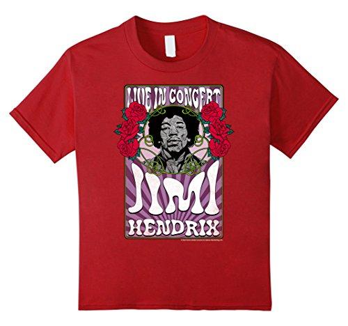 Kids Jimi Hendrix Psychedelic Roses Concert Poster Rock T-Shirt 6 Cranberry Jimi Hendrix Rock T-shirts