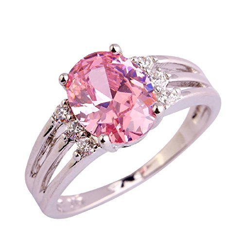Psiroy 925 Sterling Silver Grace Womens Band Charms Gorgeous 10mm8mm Oval Cut Pink Topaz Filled Ring
