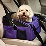 Pettom Pet Car Seat Carrier Airline Approved for Dog Cat Lookout Pets up to 15 lbs (Small, Purple)
