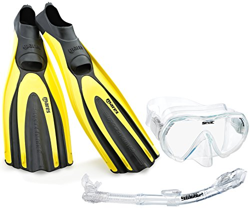 Mares Italian Designed Premium Scuba Diving Avanti Superchannel Full Foot Fins, with Single Lens Tempered Glass Frameless Dive Mask Dry Snorkel Set (Yellow, US 11-12/Eu 46)