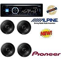 Alpine CDE-143BT Advanced Bluetooth CD Receiver W/ 4 Pioneer TSG1645R 6.5-Inch 2-Way 250W Car Speakers (2 Pairs)