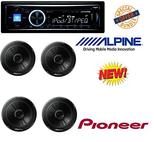 Alpine CDE-143BT Advanced Bluetooth CD Receiver W/ 4 Pioneer TSG1645R 6.5-Inch 2-Way 250W Car Speakers (2 Pairs) (Alpine Car Midrange Speakers)