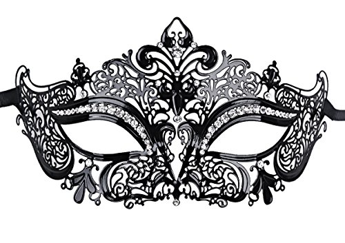 Venetian Masquerade Mask, Coxeer Black Laser Cut Metal Venetian Mask for Women(Black- Clean Stones)